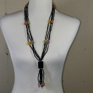 Black & multi colored based long necklace